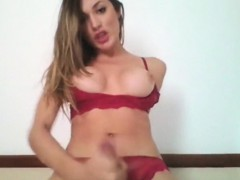 Blonde Shemale Jerks Off