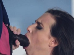 Bombshell Rides Big Black Cock In Stockings