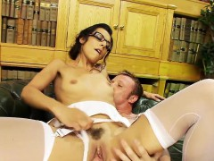 Skinny Bespectacled Wench Pleasures A Stiff Rod