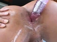 Shemale Vibrates Her Ass And Strokes Her Cock