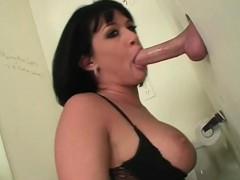 Busty Slut Fellating Dick With Lust On Gloryhole