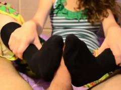 Black Kneehigh Sockjob With Cumshot