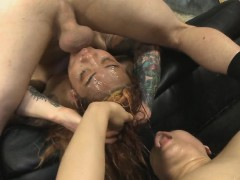 Two Dirtbags Getting Tonsil Fucked Together In Foursome