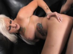 Tattooed Blonde with Big hooters has Her lover plowing Her Hungry Ass