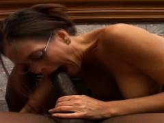 Geeky Brunette Vixen In Black Lingerie Unhinges Her Jaw For A Big Black Cock