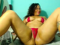 Curvaceous Brunette In A Tiny Red Bikini Fucks Her Shaved C