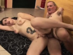 Tattooed Saggy Tits Maid Serving Old Cock Master
