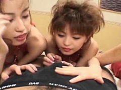 Miyuki Hourai Nao Oikawa and Mirai Hoshizaki gave blowjobs