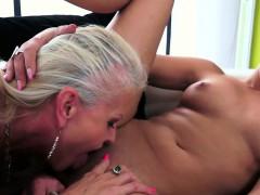 Busty Mature Dyke Oral Pleasuring Babe