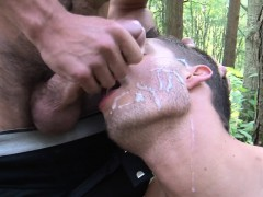 English Hunk Cocksucked Outdoors