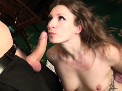 sub-babe-gags-while-throated-with-hard-cock