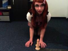 Redhead Schoolgirl Having A Good Time