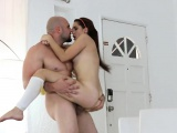 Pretty brunette teen babe Brooke Haze banged by bald dude