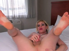 Pigtailed Natural Femboy Solo Pulling Cock