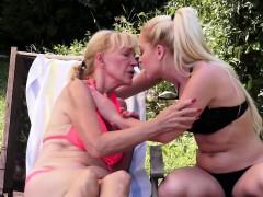Saggy Grandma Pussytoying Lesbian Teen