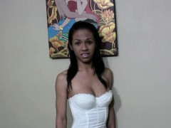 Dark Skin Ladyboy In Jeans And Corset Makes Her Nipples Wet