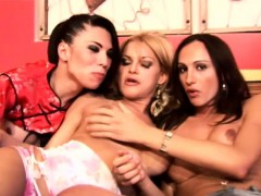 Tasty Shemale Girlfriends Lick Up Chocolate Off Their Boobs