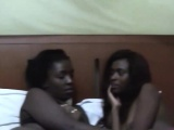 Two slutty amateur ebony chicks lick each other vaginas in