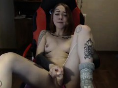 Beauty Tatooed Teen Dildoing Her Cunt On Chair Home Alone