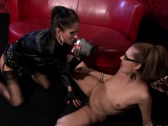 Lesbian Gets Cheerful By One More Girl With Large Sextoy