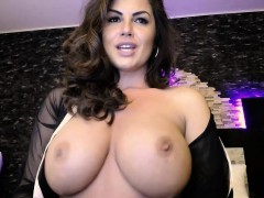 Gorgeous Busty Brunette Plays Nude on Webcam