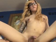 Teenage Tgirl Rides Cock