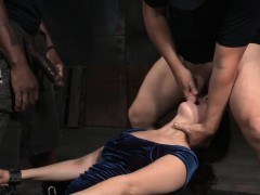 Restrained Sub Deepthroating In Bdsm Threeway