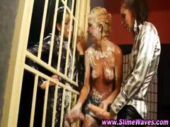 Topless Dikes Play With Strapon