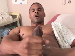 Black Muscle Pegged Before Jerking Hard Cock