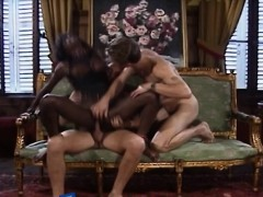 Black Slut Takes Two White Boners In Threesome