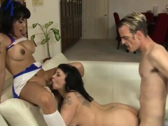 Busty Tattooed Ts Foxxy Anal Threesome Sex On The Couch