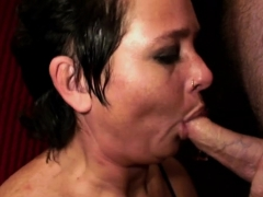 Honey Gets Down And Jerks Off A Hard Ramrod Then Sucks It