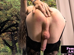 Solo Femboy Fingers Herself While Wanking