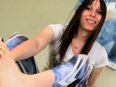 Barefoot Tgirl Puts Lotion On Her Feet