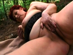 Young Dude Pounding Busty Redhead Granny