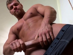 Horny Guy Plays With His Stiff Penis