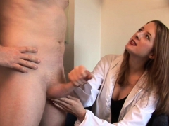 beautiful-cfnm-doctor-tugging-patients-cock