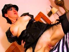 Mature Brunette Plays Dress up As A Cop