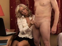Classy Milf Dressed Up While Wanking Cock