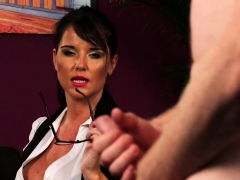big titted brit enjoys giving joi in her office