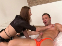 Rough Bdsm Babe Jerks Restrained Subs Cock