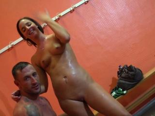Amirah Sucks Emilios Big Cock In Back Room