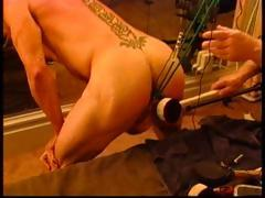 Suspended Bodybuilder Bottom With Electro Butt Plug, Ball