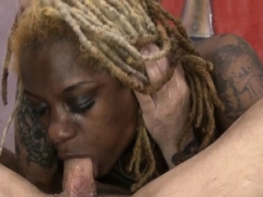 Dreadlocked Black Ghetto Whore Getting Her Face Ruined