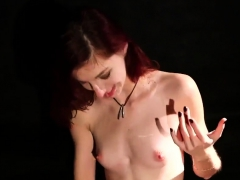 sexy honey gets sperm shot on her face swallowing all the s