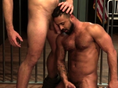 Jailed Muscled Hunk Cums