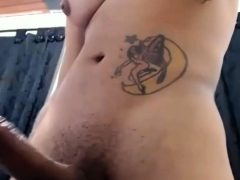 Muscular Tranny Shows Her Super Big Cock
