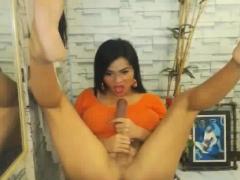 Horny Shemale Sucks And Masturbate Her Hard Cock