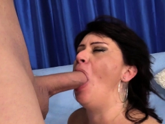 Granny Takes A Stiff Cock In Her Mouth And Twat