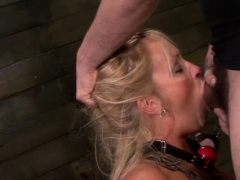 Babe That Is Chained To The Wall Gets Moist From Torturing
